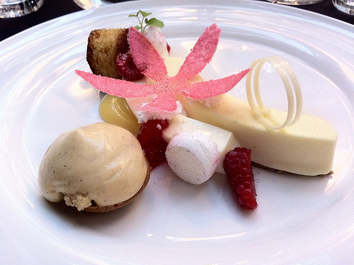 with raspberry sorbet, autumn raspberries, yoghurt meringue, almond ...