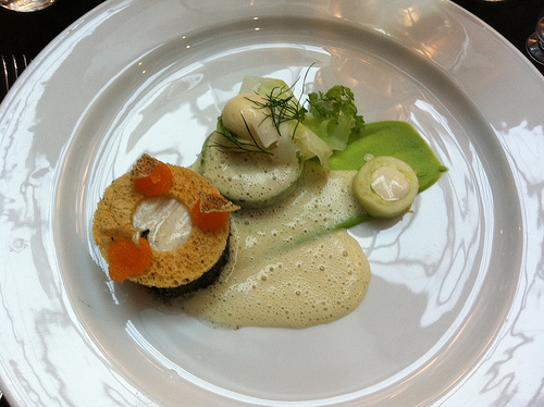 Ling, cauliflower & broccoli terrine, pickled cucumber with oyster emulsion & white wine sauce